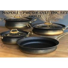 Napoli Gold 7 Parça Granit Tencere Takımı